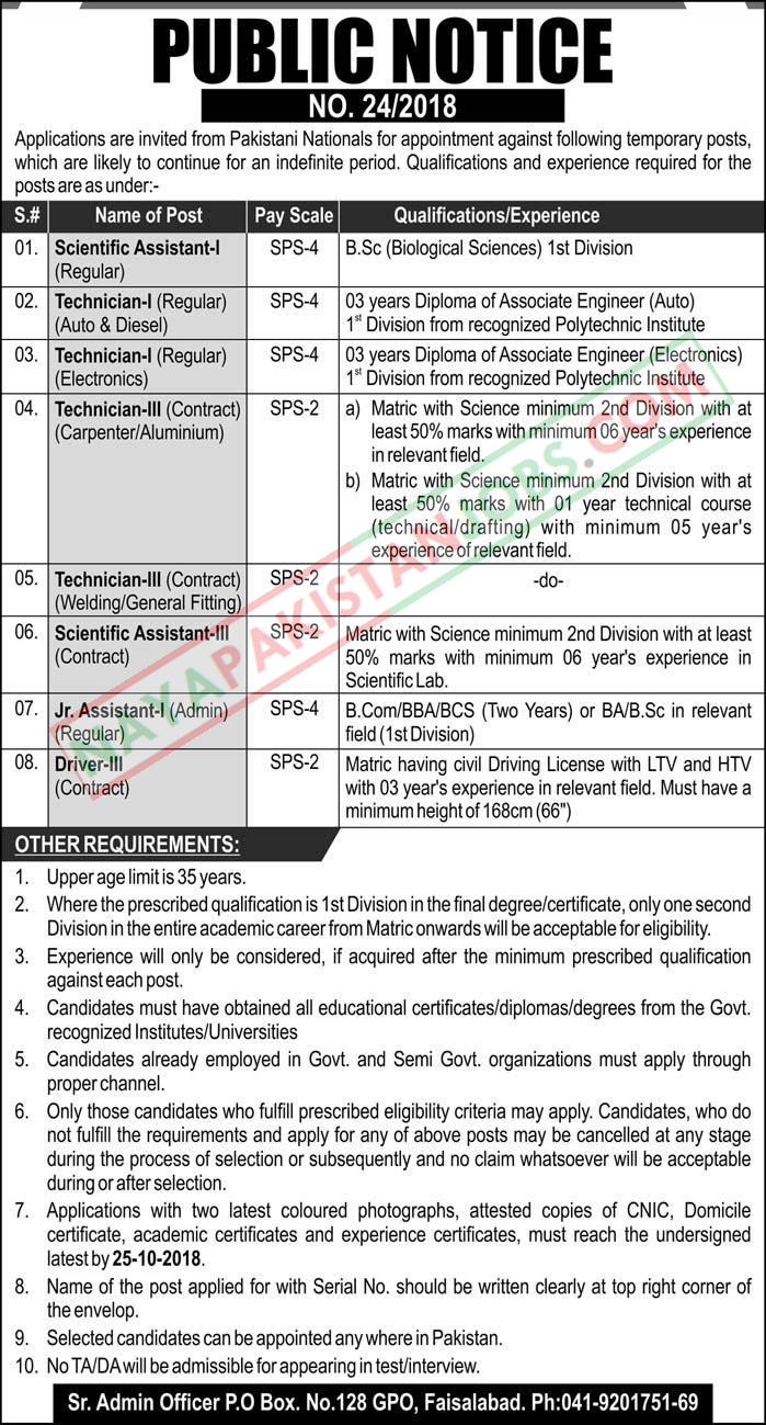 Latest Vacancies Announced in Public Sector Organization Faisalabad 8 October 2018 - Naya Pakistan