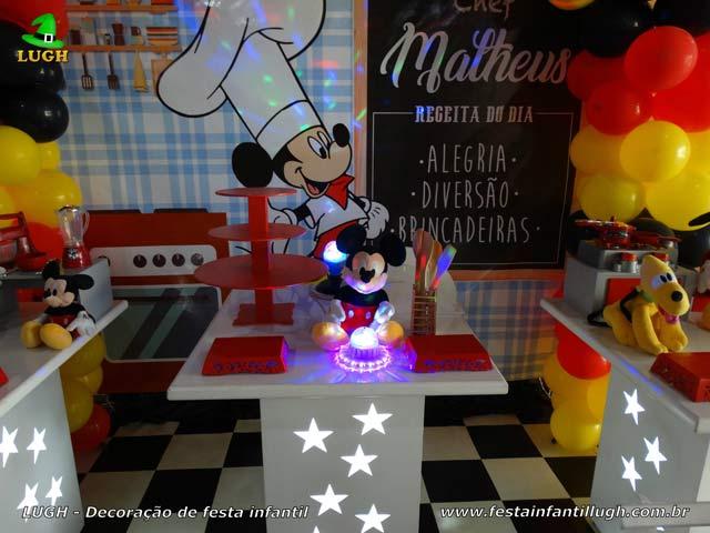Decoração de aniversário Mickey Chef para festa infantil