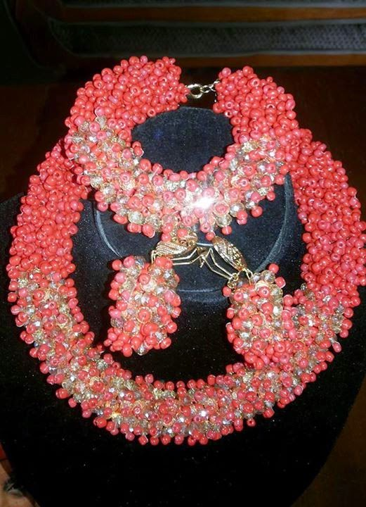red and champagne gold bead