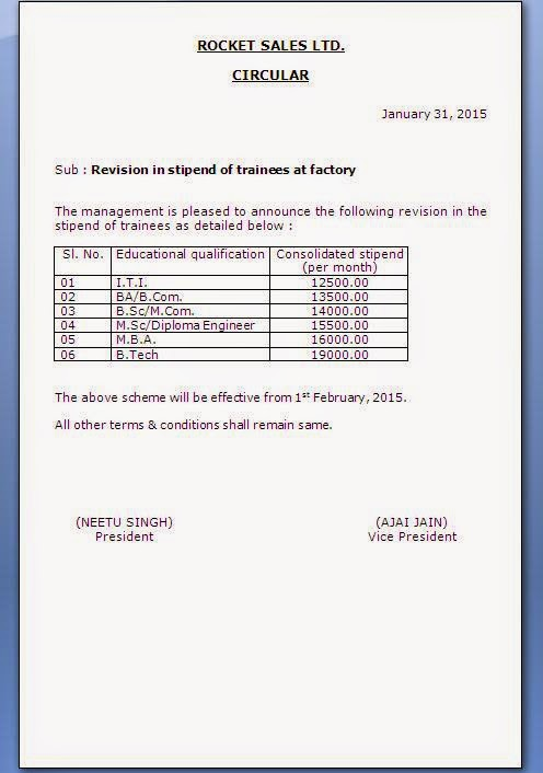 HR Circular Format For Employees Salary Increment