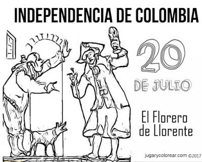 Colorear florero de Llorente 20 de Julio Colombia