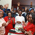 VP Yemi Osinbajo celebrates his election victory with his staff