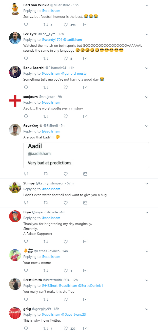 Twitter troll Watford fan @aadilsham for his false prediction of the Manchester City game