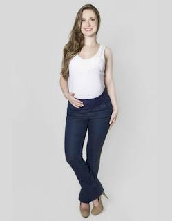 Calca Jeans para gestante, modelo flare.