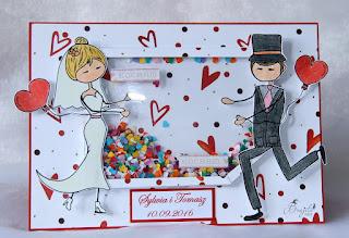 kartka ślubna, kartka w pudełku, ręcznierobiona kartka, prezent na ślub, ,