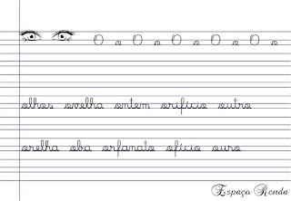 caderno de caligrafia letra O