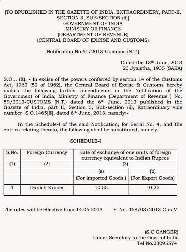 NOTIFICATION NO. 61 CUSTOM YEAR 2013