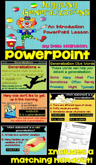 Teaching students about generalizations? Check out this PowerPoint! It tells the difference between generalizations, facts, and opinions, and differentiates valid and faulty generalizations