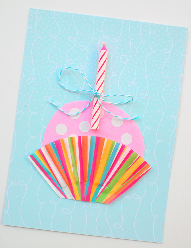 Cute Handmade Cupcake Birthday Card Pink Stripey Socks