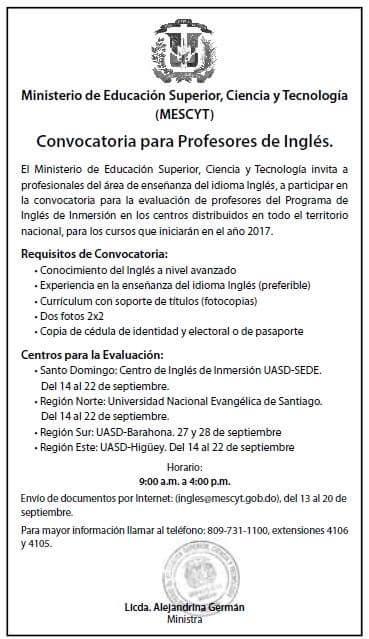 Convocatoria para profesores de ingl s rey dur n for Convocatoria profesores 2016