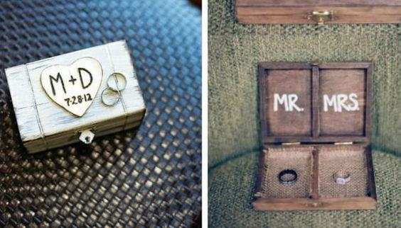Una caja de madera con vuestras iniciales y la fecha del enlace - Foto: Pinterest