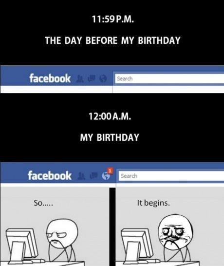 Birthday jokes, Troll FB notification