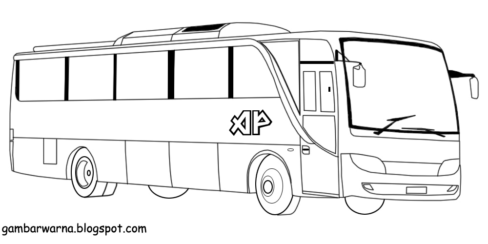 Mewarnai Bus Belajar Mewarnai Gambar