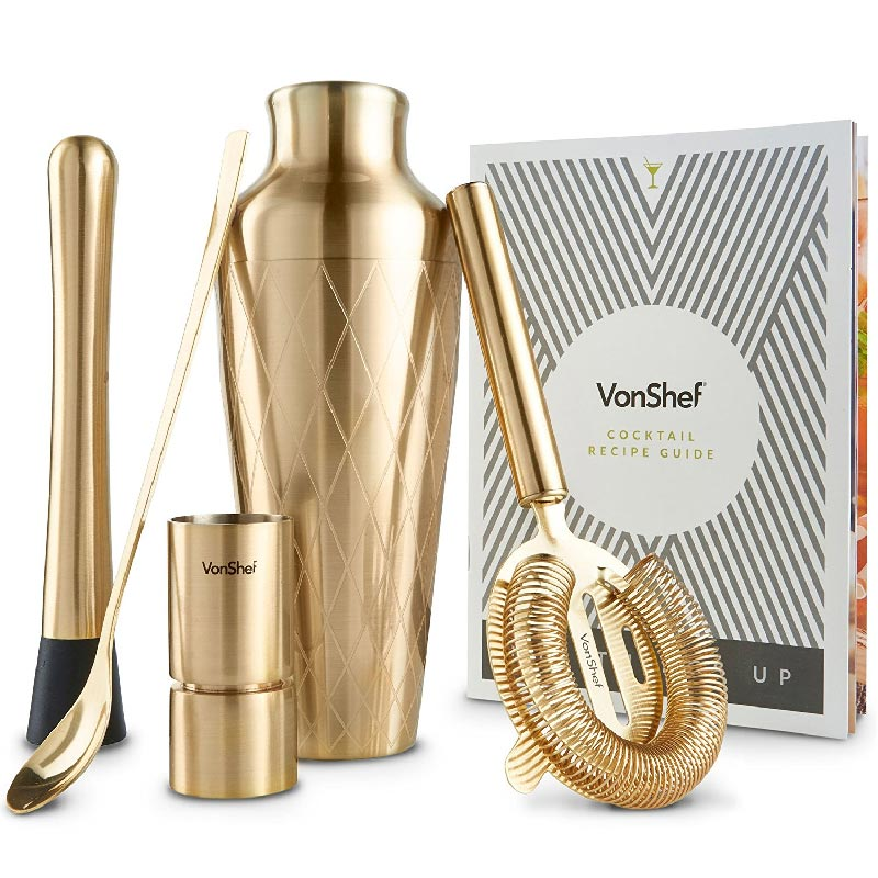 set shaker per cocktail by VonShef con ricettario Yellowa.it