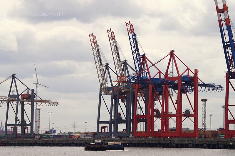 Hamburger Hafen Kran Schiffe Hafenrundfahrt Stadt Sommer