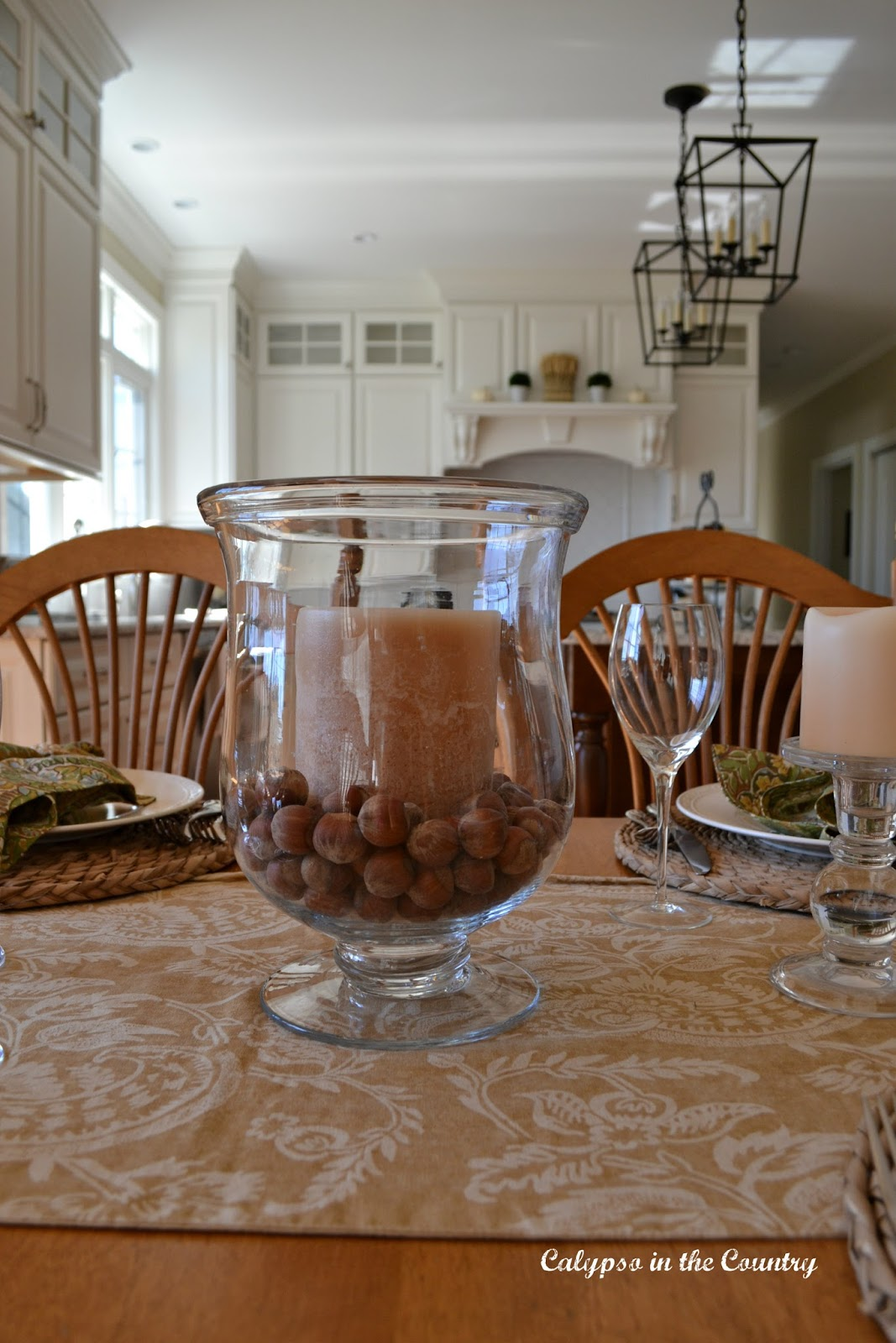 Fall Table with Candle and Hazelnuts for decor