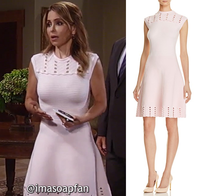 Olivia Quartermaine, Lisa LoCicero, Light Pink Cutout Fit-and-Flare Dress, General Hospital, GH