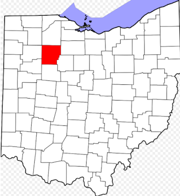 Climbing My Family Tree: Map of Ohio, Hancock County highlighted