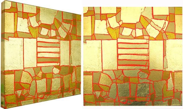 Bild No. 010111 GZ, Acryl und Blattgold auf Leinwand XL, 50 x 50 cm, Dagmar  Mahlstedt