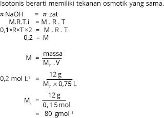 contoh menghitung mr zat pada larutan isotonis