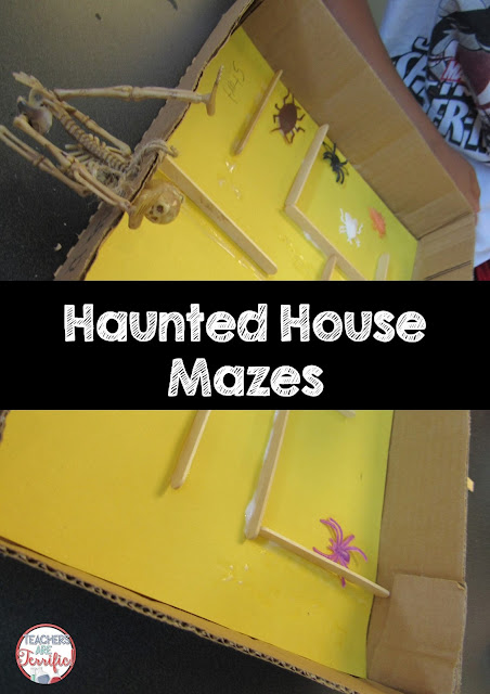 STEM Challenge: The second Pumpkin or Halloween challenge is to build a Haunted House maze. The photo is showing one that is about half finished. Check this blog post for more info!