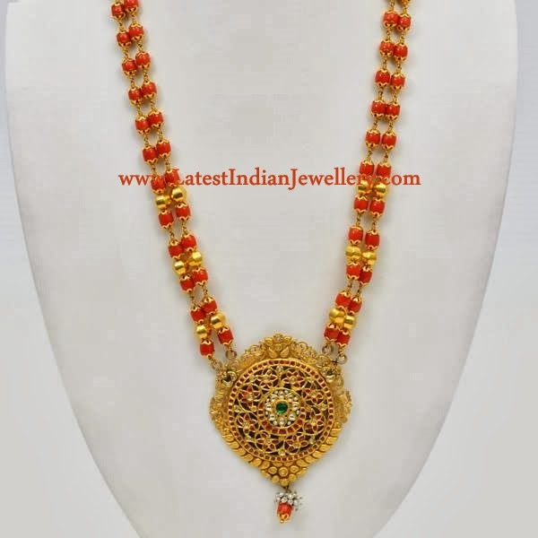 Coral Beaded Gold Haram