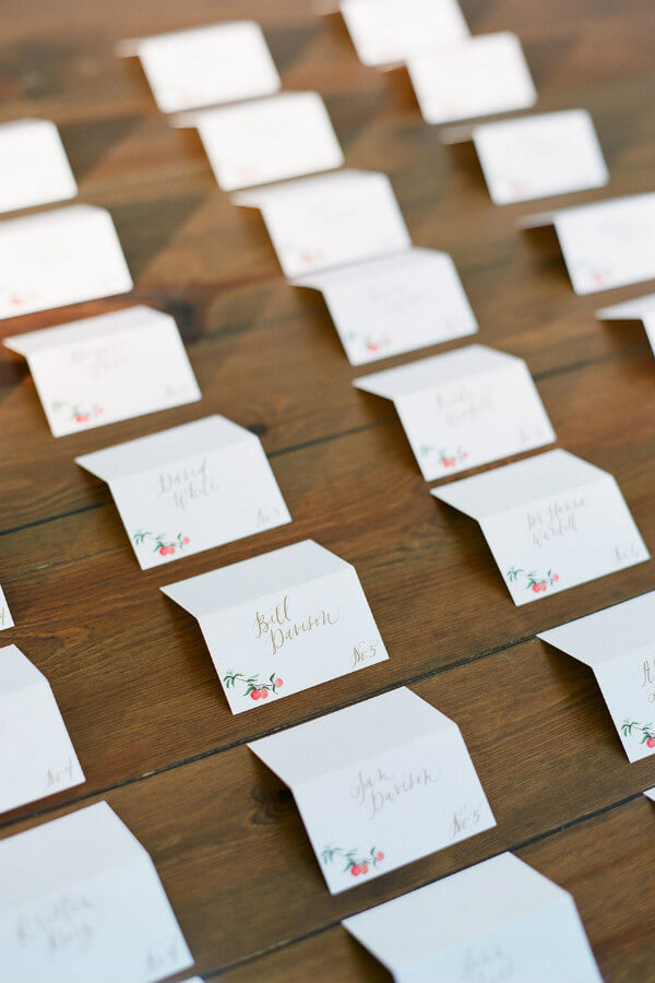 hand painted wedding place cards