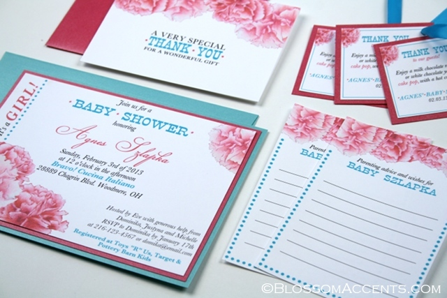 Turquoise And Pink Wedding Invitations: Wedding Blossoms: Baby Shower Invitations: Pink And Turquoise