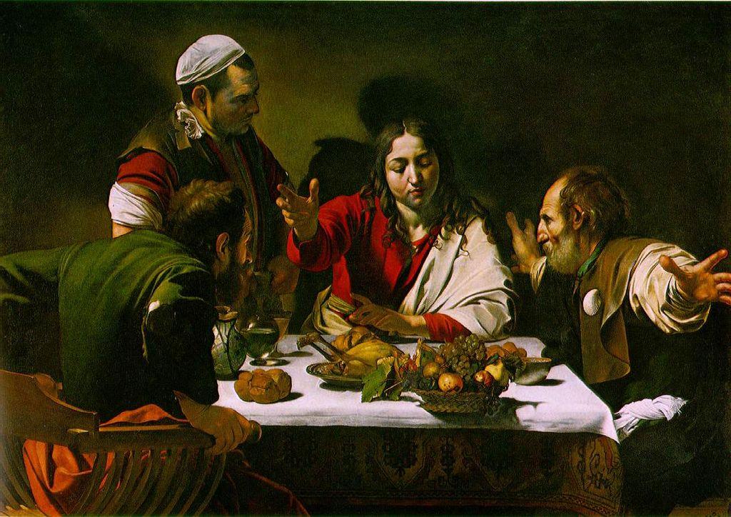 3. A Ceia dos Emaús (1600-01) - Existem duas versões desta cena. A primeira é mais dramática. A segunda, feita no fim da vida do artista, mais austera e sombria.