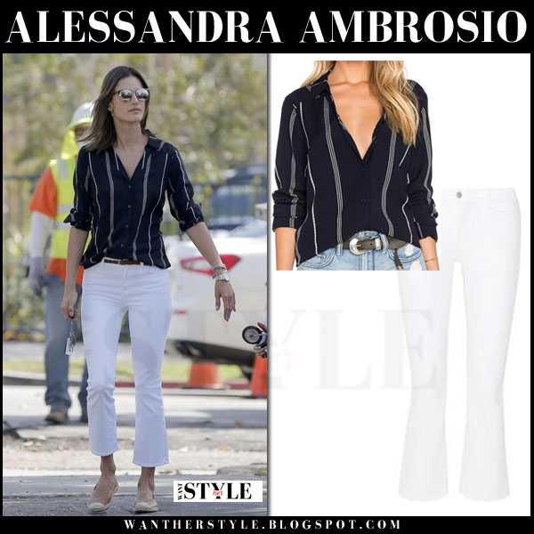 Alessandra Ambrosio in blue striped shirt and white jeans what she wore model style