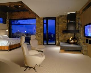 Dormitorio moderno chimenea