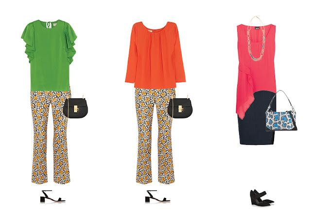 Желтые брюки с зеленым и оранжевым топом и розовый топ с синей юбкой и синей сумкой