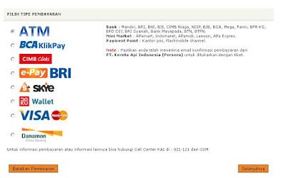 Tipe Pembayaran ATM KAI
