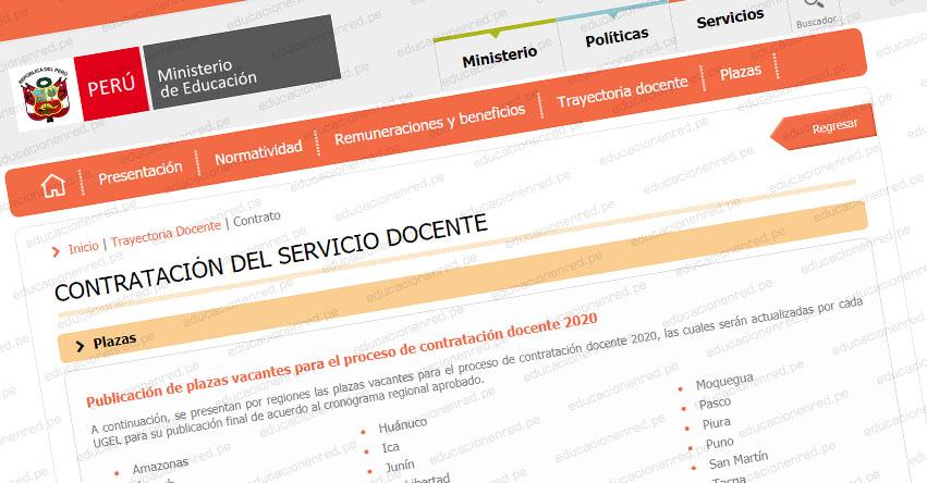 MINEDU: Plazas Vacantes para Contratación Docente 2020 (Actualizado 14 Enero) www.minedu.gob.pe