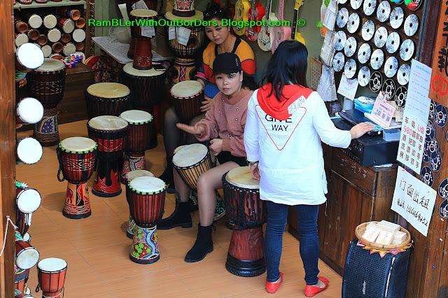 Drum shop, Phoenix Fenghuang County, Hunan, China