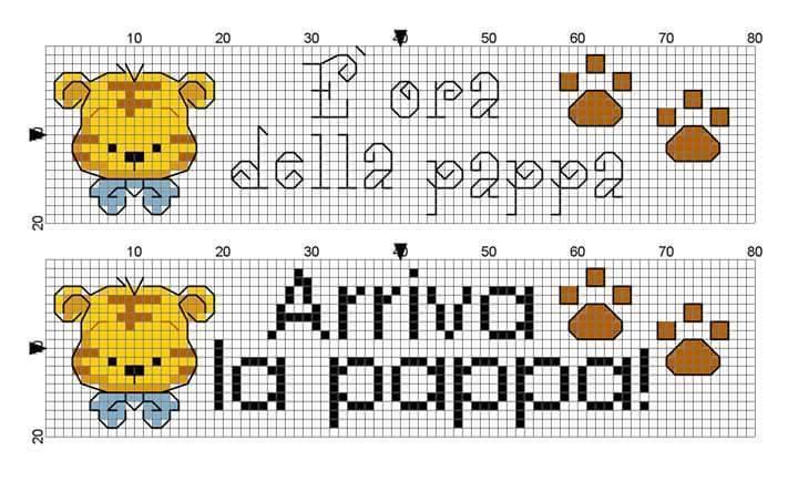 Schemi punto croce per bavaglini schemi bavaglini punto for Idee punto croce neonati