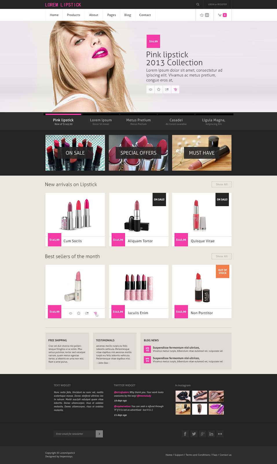 Lipstick Online Shopping Site Design Idea