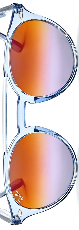 Ray-Ban Mirrored Round Sunglasses, 50mm Light Blue/Lilac Violet Gradient Mirror