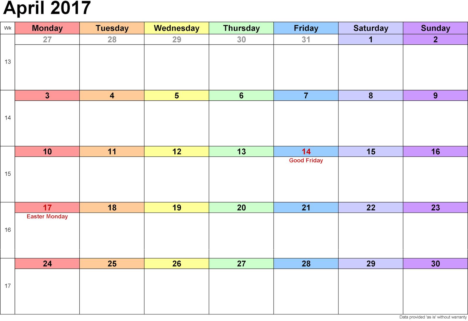 April 2017 Printable Calendar | April 2017 Calendar Template Free ...