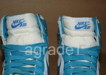"""558bc9c4e24 Here is a look via ebay at a pair of 1985 Nike Air Jordan 1 Dunk Sole OG """" Carolina"""" Sample Sneakers"""
