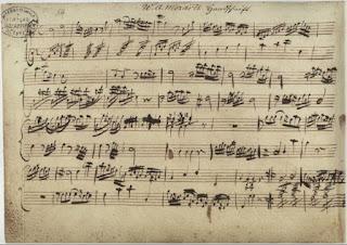 Una de las hojas del Nannerl Notenbuch (Cuaderno de Nannerl).