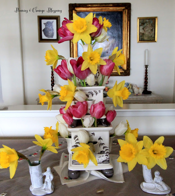 Juliska Country Estate tulipiere with Astier de Villate bud vases at Peonies and Orange Blossoms