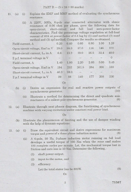 EE2302 Electrical Machines II April May 2015 Question