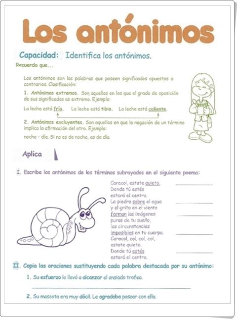 """Razonamiento Verbal: """"Los Antónimos"""" (Cuadernillo de Lengua Española de 5º de Primaria)"""
