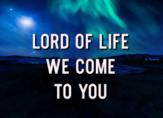 Blue northern lights:    Lord of life, we come to you Lord of all, our Saviour be; come to bless and to heal with the light of your love.  2  Through the days of doubt and toil, in our joy and in our pain, guide our steps in your way, make us one in your love