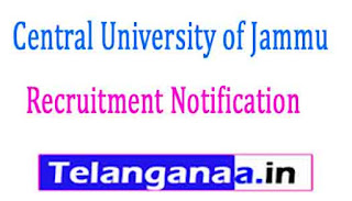 Central University of Jammu Recruitment Notification 2017