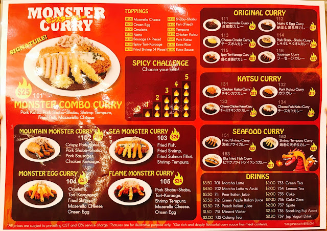 Monster Curry (Suntec City) - Menu