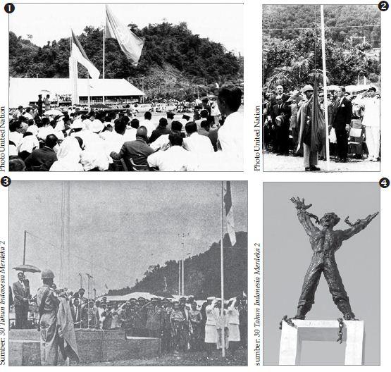 Rangkaian seremonial penyerahan kedaulatan Irian Barat kepada Republik Indonesia. Tampak Bendera PBB masih berkibar bersebelahan dengan bendera Merah Putih (gambar 1). Sementara itu, tampak bendera PBB sedang diturunkan (gambar 2). Gambar 3 menunjukkan bendera PBB sudah turun dan tinggal bendera Merah Putih yang berkibar. Untuk menghormati pembebasan Irian Barat, di Jakarta dibangun Patung Pembebasan Irian Barat (gambar 4).