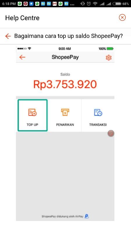 cara top up saldo Shopee pay
