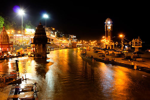 View of Har Ki Pauri at night, Haridwar